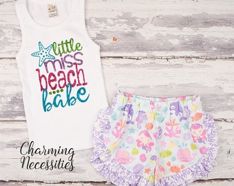 NEW Little Miss Beach Babe Glitter Tank Top and Ruffle Shorts Set, Fan, Trendy Baby Toddler Girls Clothes, Outfits, by Charming Necessities