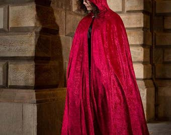 Long Dark Red Velvet Cloak