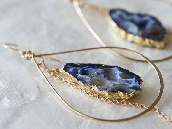Druzy Earrings, Geode Earrings, Hoop Earrings, Purple Druzy Earrings, Hammered Hoop Earrings, Occo Agate Earrings, Gold Dipped Earrings