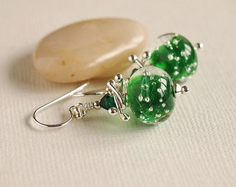Green Beaded Earrings, Artisan Lampwork, Emerald, Sparkle, Sterling Silver - NORTHERN LIGHTS