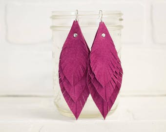recycled, leather feather earrings, leaf earrings, boho earrings, earrings, dangle earrings, pink earrings, tassel earrings, stacylynnc