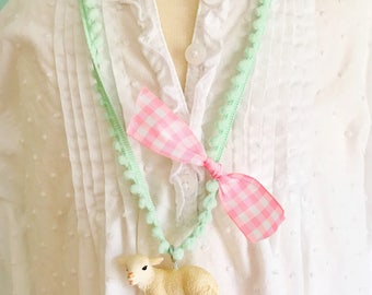Lamb Necklace. Easter Necklace. Kids Necklace. Girls Easter Necklace. Girls Necklace. Mary Had a Little Lamb Necklace. Religious Jewelry.