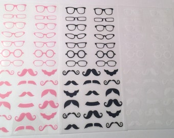 Mustaches and Glasses Stickers, Removeable, Kawaii