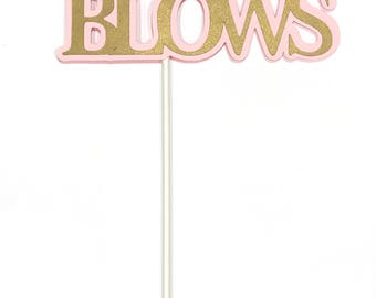 40th Birthday Topper - 40 BLOWS - Sucker Bouquet, Pink and Gold or Your Choice of Colors