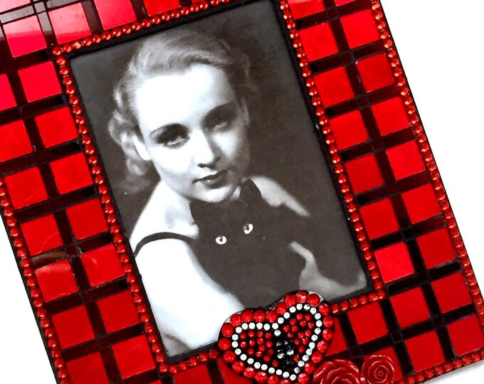 Red Rose Goth Frame, Red Mosaic Picture Frame, Red Black Mosaic Frame, Red Roses Skeleton Mosaic Frame, Red Black Goth Frame, 5x7 Frame