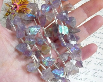 Mystic Ametrine Nugget Briolette  Beads,  Aqua aura Hammared Raw Nugget Beads