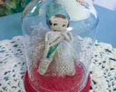 Vintage Japan Big Eye Chenille Bunka Pose Doll in Glass Dome
