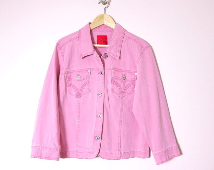 Pink Jacket | Gloria Vanderbilt Pink Jean Jacket L | Jean Jacket | Spring Summer Jacket
