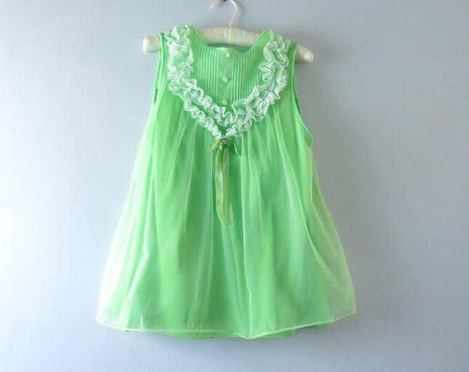 Green Vintage Nightie - 1960s Green Babydoll - Babydoll Nightie - Vintage Green Lingerie Size S/M