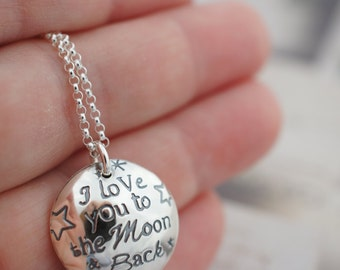 Locket - I Love you to the Moon & Back Necklace - Personalized Mother's Jewelry w/ Child's Name, Date and Birthstone in Sterling Silver