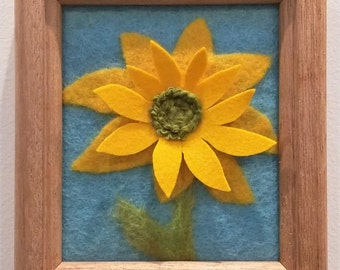 "Felted Wool ""Sunflower Sketch II"" Framed"