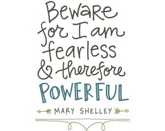 Fearless Poster: PDF, Digital Download, Handwritten
