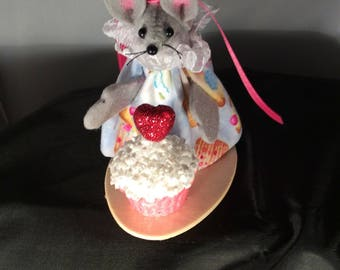 Mouse with a Cupcake. NEW LOWER PRICE