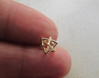 14K Gold Merkaba Charm for Bracelets, Necklaces, Earrings, Anklets and more, Small Merkaba Pendant in 14K Solid Gold sacred geometry jewelry