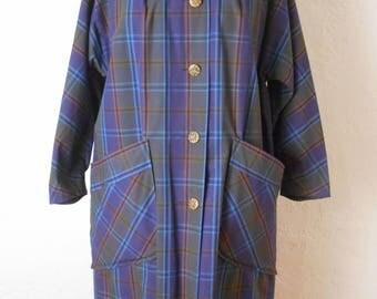 Vintage 1950s / 1960s Cotton Coat Purple Plaid Mid Century Modern Sz Small