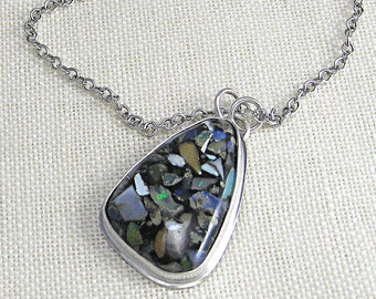 Opal, Mosaic Opal Necklace Pendant - Semi Precious Gemstone - Perfect Christmas Gift