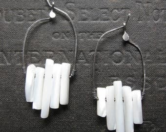 Seismic Activity - Mother of Pearl and Sterling Artisan Earrings