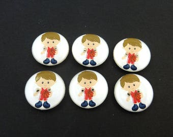 "6 Basketball Buttons.  3/4"" or 20 mm Boy Basketball Player Sewing Buttons.  Handmade by Me.  Washer and Dryer Safe."