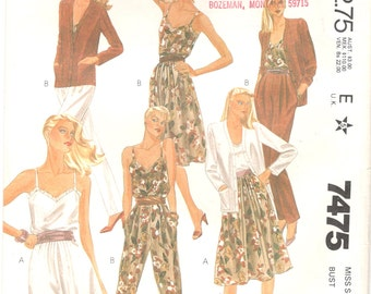 1980s McCalls 7475 Misses evelyn de jonge Jacket V Neck Camisole Skirt Pants Pattern Womens Vintage Sewing Pattern Size 14 Bust 36 UNCUT