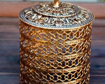 Gold Filigree Toilet Paper Cover