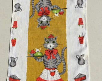 Vintage Towel Kitty Cat Waitress Serves Your Meal