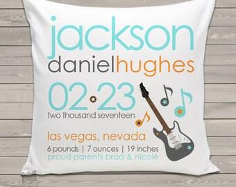 Birth announcement new baby gift rockstar theme throw pillow BP-050