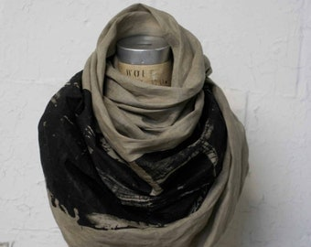 linen scarf, industrial, gray long scarf, unisex