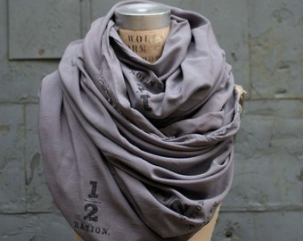 Gray Scarf, Printed Text, Large Scarves, Fashion Accessories, Winter Scarves