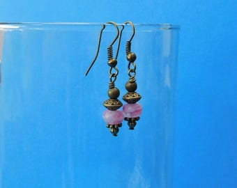 Wife Pink Jewelry, Unique Earrings for Girlfriend Gift, Unique Simple Earrings, Pink and Vintage Bronze Dangle Earrings
