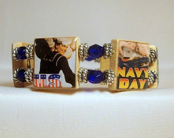 NAVY Jewelry / Military Gift / Upcycled SCRABBLE BRACELET