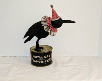 folk art crow / handmade ooak / assemblage mixed media / vintage moth gas can / garden home decor decoration