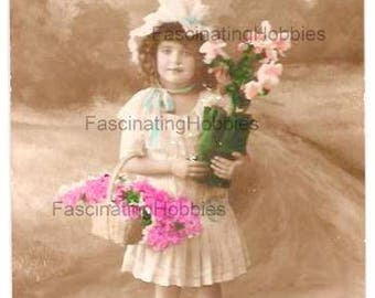 Vintage - Young GIRL with Pink FLOWERS in Basket & White FLOWERPOT - French Photo Postcard- sepia background - good condition - years 1910