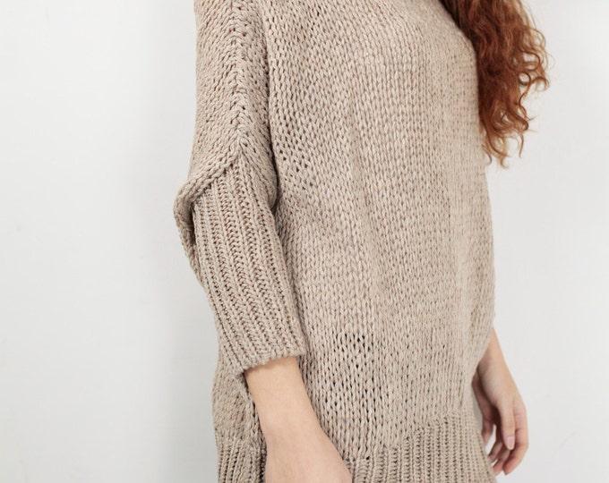 OVERSIZED Hand knit Woman sweater/ Knit sweater kimono sleeve pullover wool sweater almond