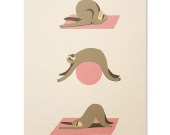 Sloth Print / Sloth Poster / Sloth Yoga Print / Funny Sloth Print / Cute Yoga Print / Home Decor / 8 x 10
