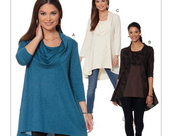 Misses' Knit Cowl-Neck Tunics -McCall's M7474 Easy Sewing Pattern Loose-fitting Tops  Sizes: XS -S -M or L -XL -XXL