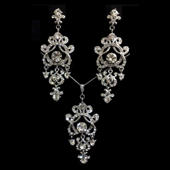 Chandelier Bridal Jewelry Set, Statement Bridal Earrings, Victorian Wedding Necklace, Long Dangle Earrings, Crystal Wedding Jewelry, YOHANNA