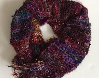 Recycled sari silk knit scarf - long jewel tones silk scarf