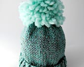 Giant Pompom Wool Hat - Mint Green