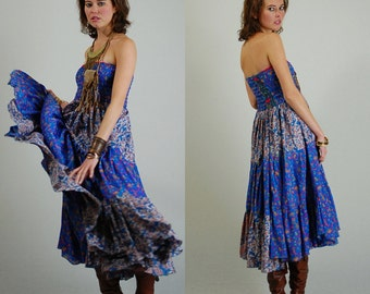Smocked Dress Vintage 90s Ethnic Floral Hippie Boho Smocked Strapless Summer Maxi Dress (s m)