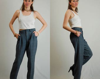 Menswear Trousers Vintage 70s Gray Striped Slouchy Menswear Androgynous Pants (30 waist)
