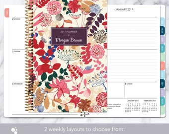 2017 planner 12 month calendar | add monthly tabs weekly student planner | personalized planner agenda daytimer | purple pink floral pattern