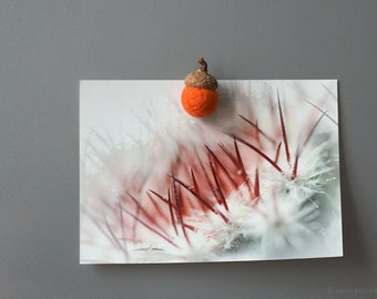 Cute fridge magnet - Felted wool acorn in bright orange color in craft box - Waldorf - inspired home decor - Montessori Play - Woodland gift