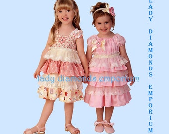 Simplicity 1474 Girls Ruffled Tiered Dress & Headband Childs 2 3 4 5 6 6X Special Occasions Holidays Melissa Myers Sewing Pattern Uncut FF