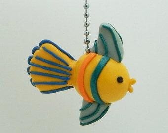 Fish Fan Pull Chain - Under the Sea Nursery - Children's Nautical Room Decor - Yellow, Orange, Teal, Blue - Polymer Clay