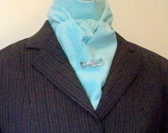 Equestrian Stock Tie,  Light Turquoise, Brown Dots, Soft Cotton, Two Fold, Ready To Ship
