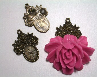 1 Piece 25mm x 31mm Antique Bronze Rose Bail Glue On Bail for Resin Cabochons