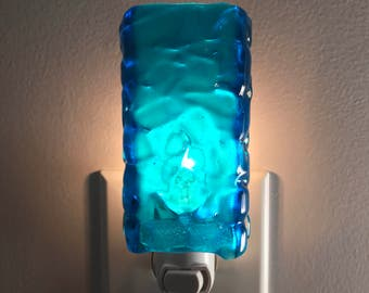 Glass Night Light - Blue Fused Glass Kitchen or Bathroom Night Light, Handmade, Unique Gift Idea, Lighting