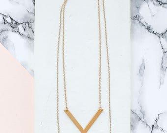 Balance Long Necklace, Long Necklace, Multi Strand, Multi Layer, Double Necklace, Chevron Pendant, V Pendant, Layered Necklace