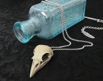 Nevermore - Raven Skull Necklace, Crow Skull, Bird Skull Necklace, Gothic Jewelry, Macabre Jewelry, Morbid Jewelry, Halloween