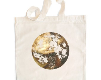 Dark Silver Full Moon tote bag, natural, black or navy blue, metallic screenprint on cotton, eco-friendly and reusable, copper pearl gold